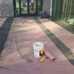 An image of a courtyard floor under construction