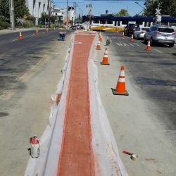 An image of a road divider under construction