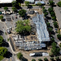 An aerial shot of a building under construction.